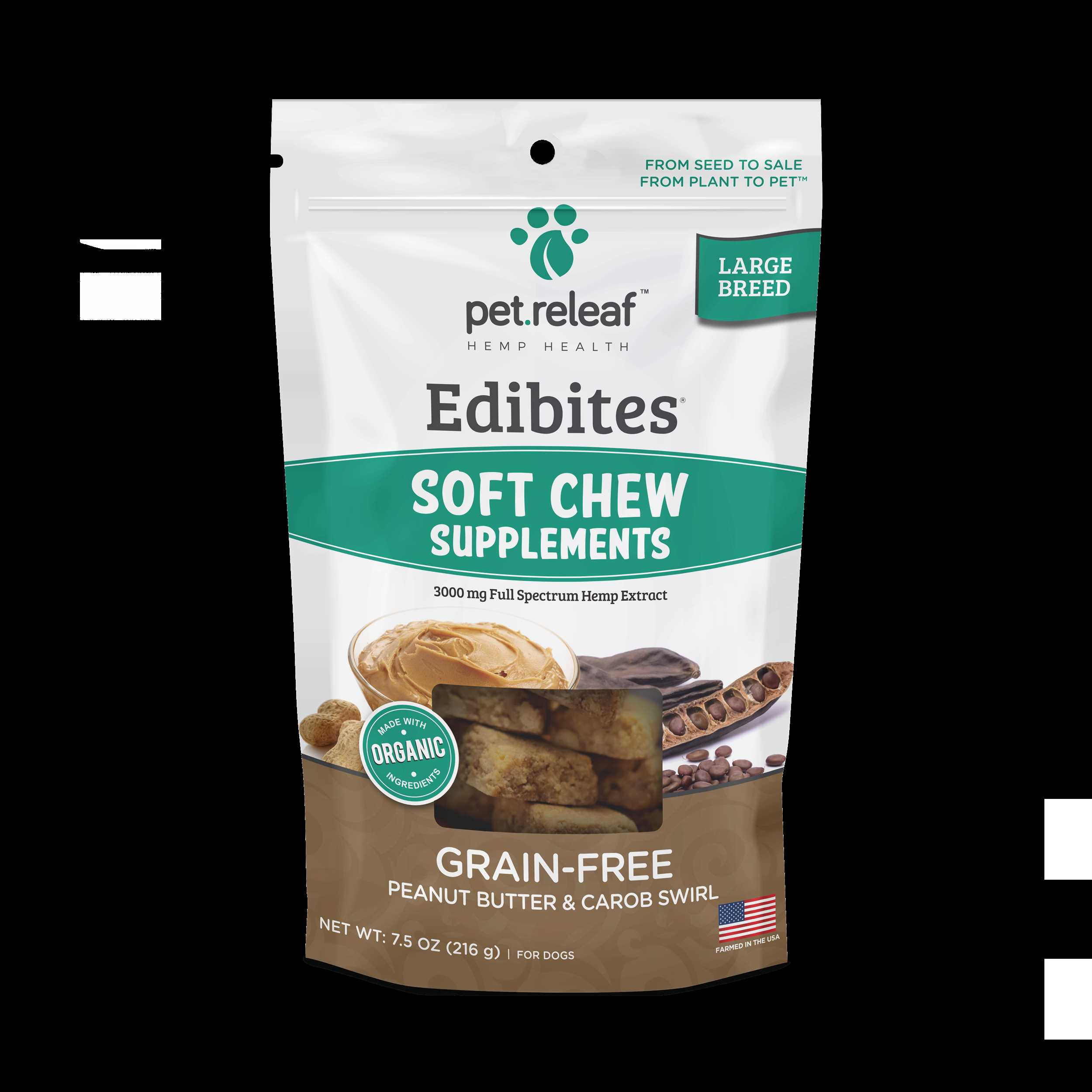 PB Carob Swirl 3000mg CBD LG Breed Soft Chews $30